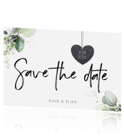 Save the Date kaart Basic Botanisch