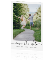 Hippe save the date kaart met foto