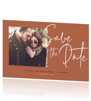 Hippe Save the Date kaart Lovely Lettering met foto