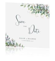 Botanische Save the Date kaart Loving Leaves