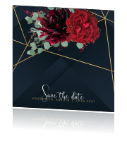 Geometrisch save the date kaart met bloemen