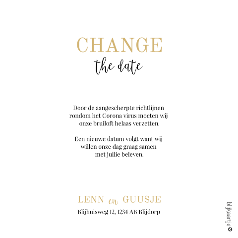 Change the date kaart bruiloft in trendy okergeel