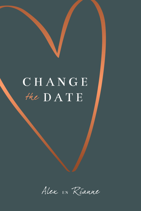 Postponed wedding change the date bruiloft kaart met hart