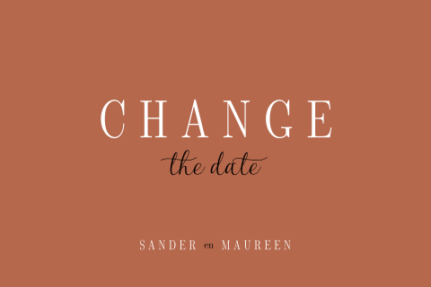 Change the date bruiloft kaart in trendy koperkleur
