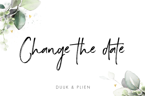 Change the date kaart met botanisch blad