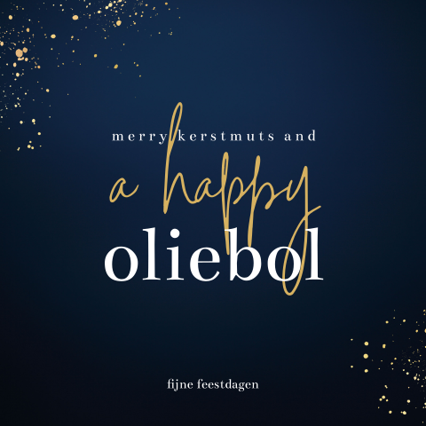 Merry kerstmuts and a happy oliebol kerstkaart