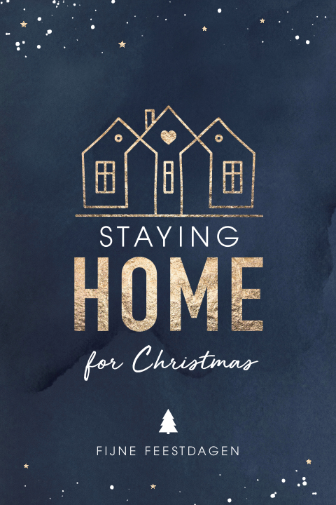 Staying home for Christmas kerstkaart met huisjes