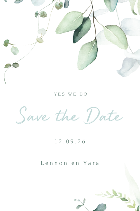 Botanische Save the Date kaart Floral and Blue