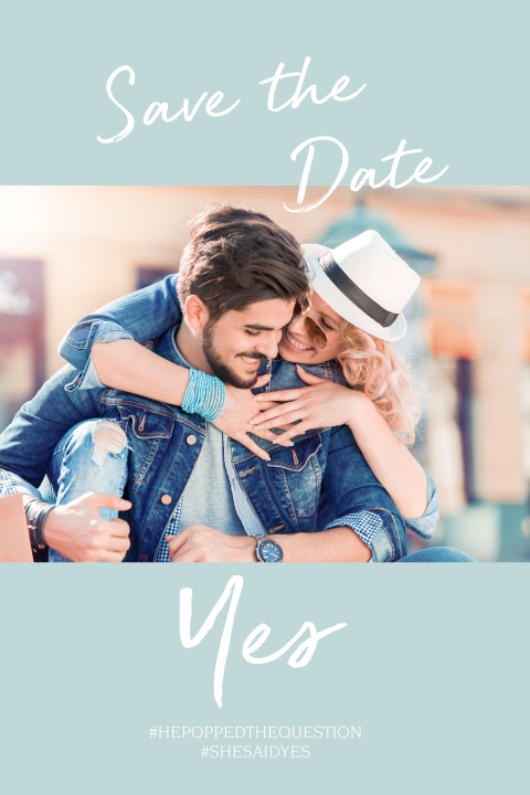 "Save the Date Floral and Blue met foto en ""Yes"""