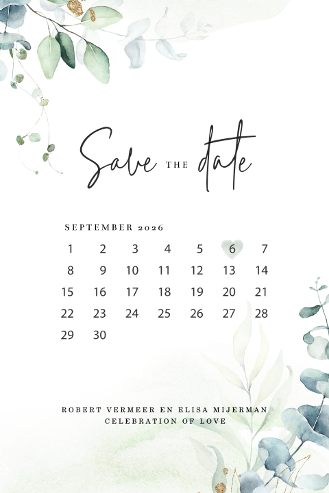 Save the Date kaart Aquarel Eucalyptus met kalender