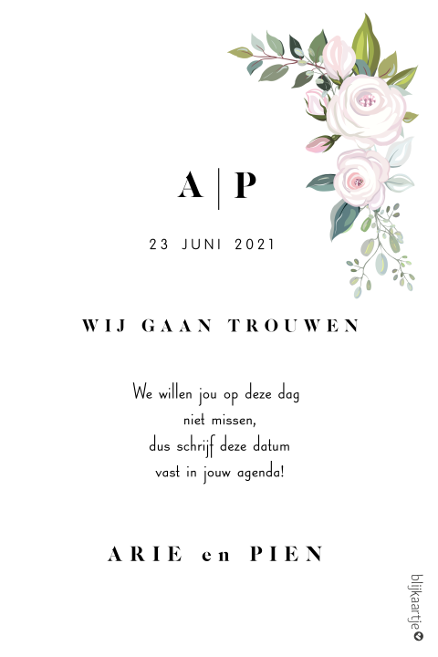 Romantische save the date kaart met rozen