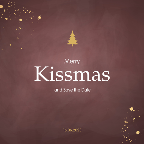 Meryy Kissmass Save the Date kerstkaart met trendy kleuren