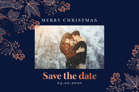 Romantische Save the date kerstkaart met foto