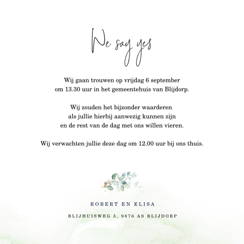 Trouwkaart Aquarel Eucalyptus met Yes we do!