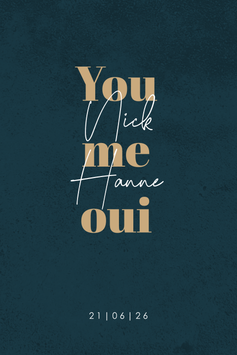 Basic trouwkaart met you, me, oui