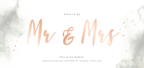 Mr & Mrs trouwkaart met aquarel en luxe roséfolie