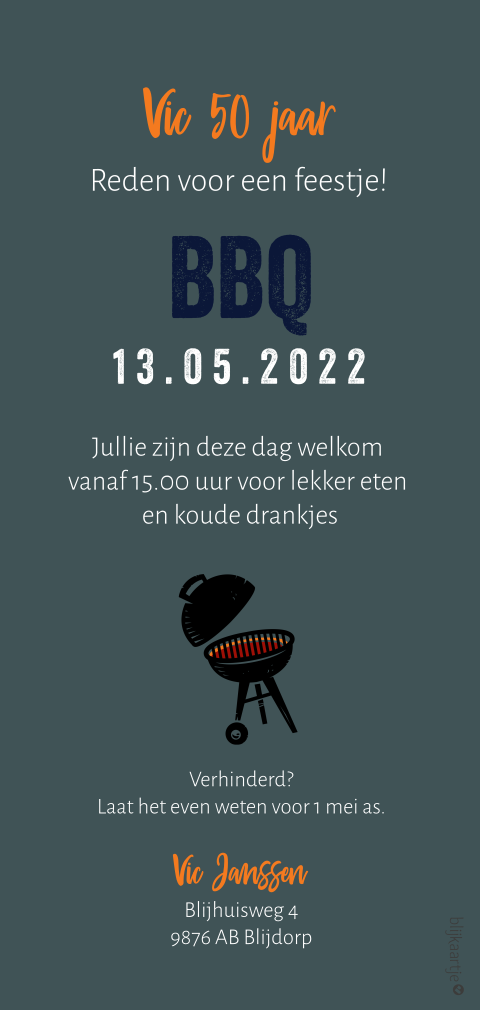 Stoere uitnodiging bbq feest
