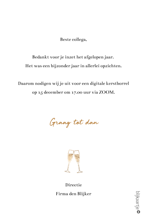 Digitale kerstborrel uitnodiging proost