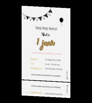 Uitnodiging 1 Jaar Met Tekst Ballonletters En Foto