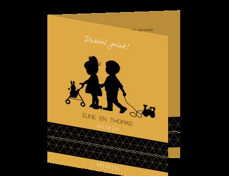 8142b9223635e2 Tweelingkaart jongen meisje met poppenwagen en trein