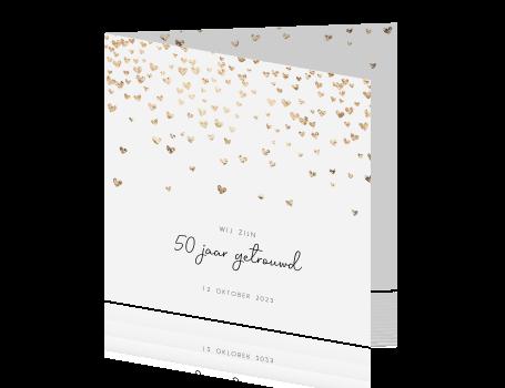 Ongebruikt Sierlijke jubileumkaart met vallende gouden hartjes QV-07