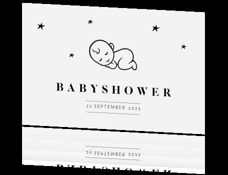 kaart babyshower Babyshower kaart met baby lijntekening